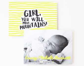 Girl Birth Announcements Personalized Baby Photo Card Black and Yellow Custom Birth Details Newborn Baby Announcement Simple Modern Cards