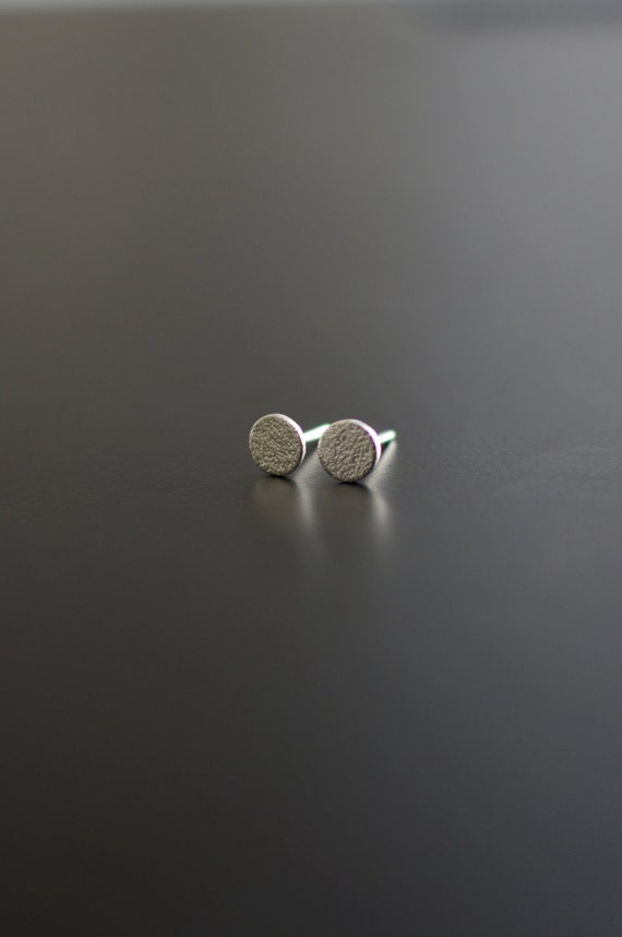 Sterling Silver Earrings, Small Orange Skin, Textured, Ear Studs, Circle, Modern, Contemporary, Minimal