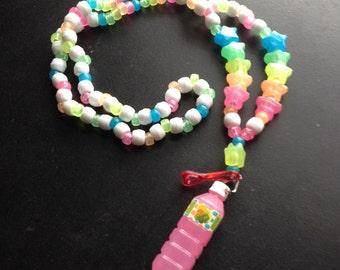 Pink Fruit Juice Bottle Kandi Charm Necklace