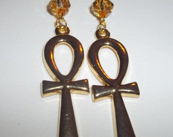 Dangling Golden Cross Earrings With Golden Yellow Swarovski Crystal Beads