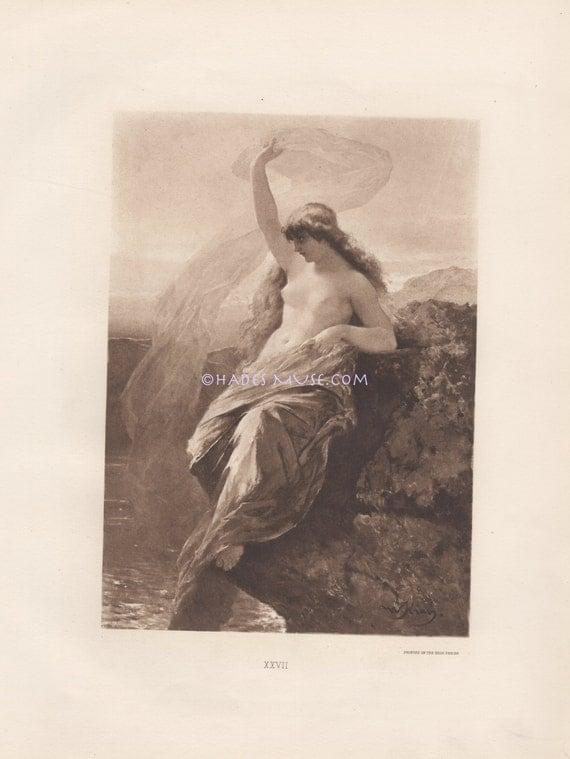 Nude Siren Lures Sailor To Death-Sing-Ship-Sea-Rocks-1891 Antique Vintage PHOTOGRAVURE Art-Beautiful Mermaid-Lorelei-Ocean-Nymph-Mythology
