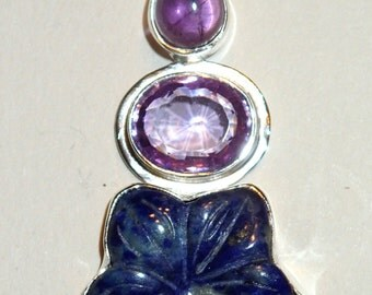 Lapis Flower Pendant with Amethyst in Sterling Silver