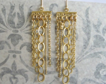 Gold chandelier chain link earrings , Long dangle earrings , Handmade by Adi Yesod