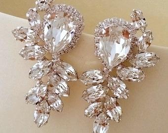 Crystal Bridal earrings, Crystal statement stud earrings,  Extra large cluster earrings, Swarovski crystal earrings, Gastby style