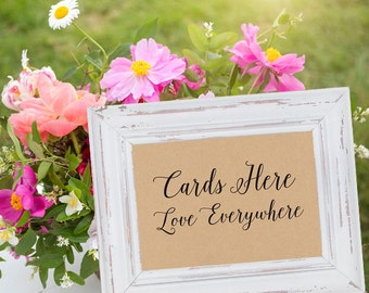 Card and Gift Table Sign 'Cards Here, Love Everywhere' Instant Download (8x10 and 5x7)   Rustic Wedding Sign, Reception Decorations