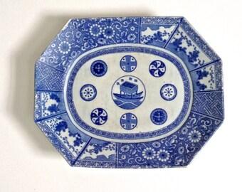 Antique Cobalt Blue Imari Platter, antique blue and white platter