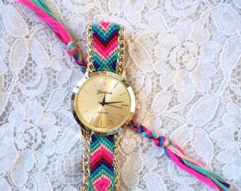 Rainbow friendship bracelet style watch