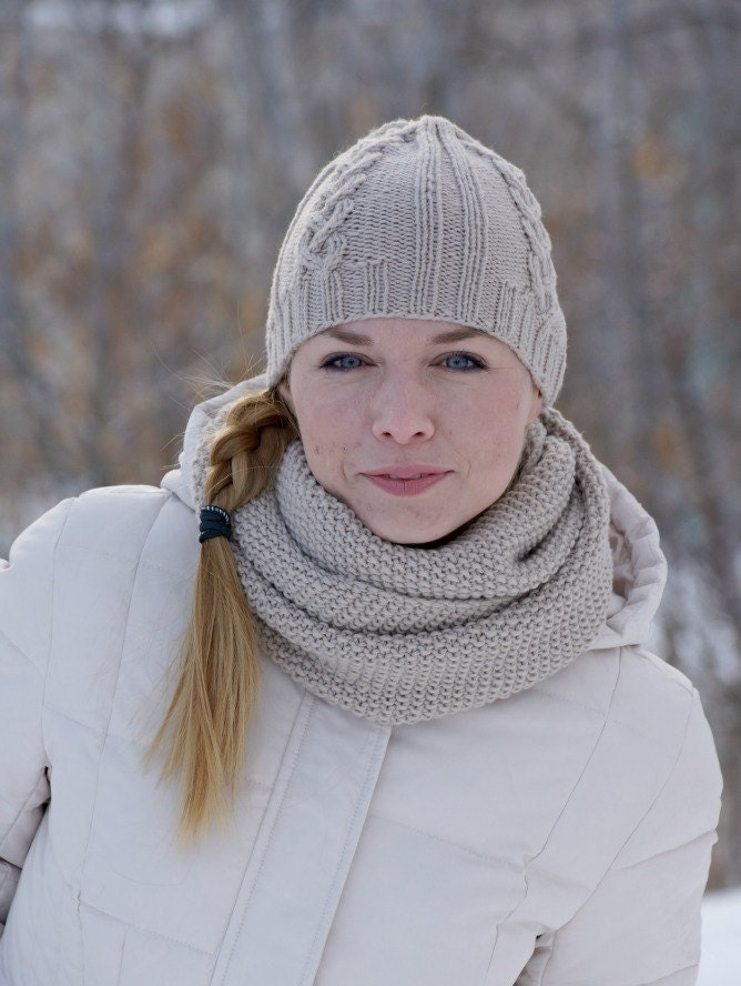 knit winter set scarf and hat wool beige by