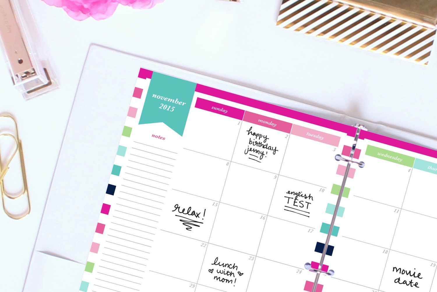 Printable Planner Pages 8.5x11in 2015-2016 by ThePreppyGreek
