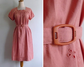 Vintage 80's Salmon Coral Peach Embroidered Eyelet Dress M or L