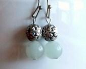 Earrings -- Dorothy -- green aventurine and sterling silver filigree beads