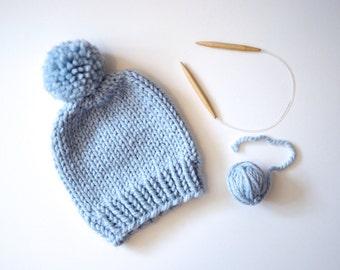 Hand Knitted Beanie // Chunky Beanie With Pom Pom // Pom Pom Hat // Cozy Knit Beanie // Winter Hat // Beanie Hat // Chunky Knit Hat