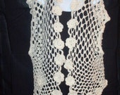 Floral Sleeveless Vest Hand Crocheted in White with Gold Flecks with Embellished Roses