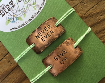 Shoelace Tags, Never Ever Give Up, Customized