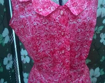 SALE Vintage 1950's Cute BubbleGum PINK Geometric Cotton Summer Dress