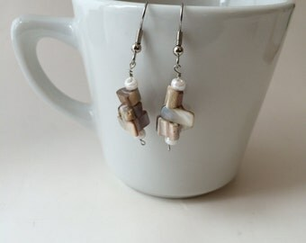 Nude & White Seashell Glass Earrings