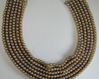Vintage Retro Faux Pearl Bib Sweater Collar - Needs Minor Repair