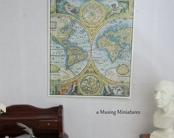 Miniature World Map Bookplate in Full Color for 1:12 Scale Dollhouse School or Gentlemans Study