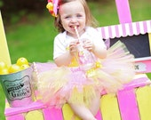 Pink Lemonade Stand Birthday Tutu Outfit, Pink and Yellow Lemonade Stand Birthday Tutu Set, Lemonade Party Outfit *Bow NOT Included*
