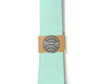 Turquoise seafoam necktie - Wedding Mens Tie Skinny Necktie organic cotton- Laid-Back necktie