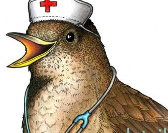 Nightingale in a Nurse's Cap - A4 Print