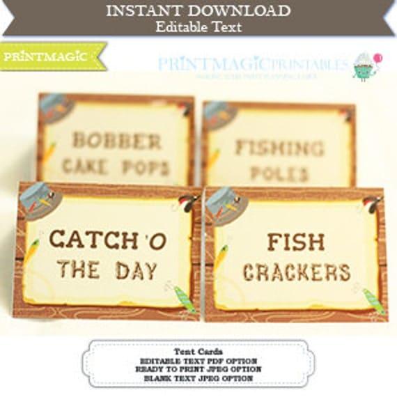 Fishing Party Food Label Fishing Birthday Party Fishing