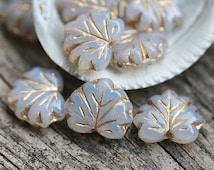 Maple leaves, Czech glass, leaf beads - Opal white, golden inlays, pressed beads - 11x13mm - 10Pc - 2139