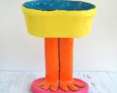 Paper mache bowl / Whimsical fruit bowl / Table centerpiece / Yellow, blue, orange and pink bowl / Bird decor