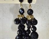 Vintage Black Glass Dangle Cha Cha Pierced Earrings