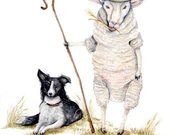 "Sheepherd Sheep Dog - Art Print of Original Watercolor  8.5""x11'' shepherd sheep dog hat whimsical nature cute nursery cabin cottage"