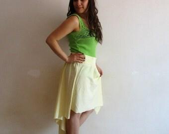 Spring skirt - women skirt- cotton skirt- asymmetric skirt-yellow skirt-  midi skirt- women clothes- high low skirt- comfortable skirt