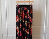 vintage midi maxi skirt rose floral 26 small