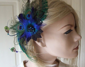 "Natural Green Blue Peacock Feathers Quills Fascinator Hair Clip ""April"" Mother of the Bride Prom Party Art Deco Woodland Wedding Inspiration"