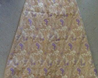 vintage REGENCY MAXI SKIRT metallic gold lavender brocade 60's 70's S