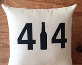Milwaukee Pillow - 414 /  Wisconsin, Beer, MKE, Midwest, Home Decor