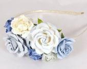 Blue Floral Fascinator Flower  Vintage Wedding Party Bridal Accessory Bridesmaid statement