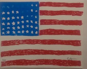 Scribble Flag 3 color American flag screenprint