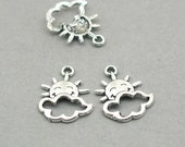 Cloud and Smiling Sun Silver Lining Charms Antique Silver 6pcs zinc alloy beads 15X20mm CM0941S