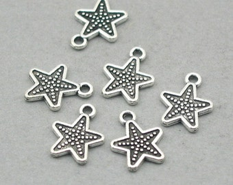 Starfish Five Point Star Charms Antique Silver 10pcs zinc alloy sea star beads 12X15mm CM0817S
