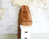Distressed Slouchy Saddle Tan Buttery Soft  Leather Bucket Crossbody Bag Backpack Mexico