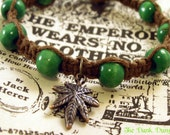 420 Pot Leaf Brown Hemp Bracelet with Green Wooden Beads, Hemp Bracelet, Cannabis Bracelet, Weed Jewelry, Beaded Hemp Bracelet, Hemp Jewelry
