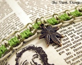 Lime Green Glow in the Dark Cannabis Hemp Bracelet - 420 Hemp Leaf Bracelet, Marijuana Leaf Bracelet, Green Mary Jane Hemp Bracelet.