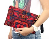 Red Wristlet Bag Embroidered Fabric Handmade Fair Trade Thailand (BG7138-2C4)
