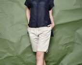 Women Linen Blue Shirt - Asymmetrical Shirt - Short Sleeve Shirt - Free Shipping
