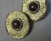 Modernist Earrings Vintage 80s Button Style TRIBAL Boho Primitive Antiqued Gold Tone with Carnelian Stones Clip On