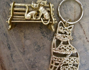 AJC Cat Brooch and Cat Keyring or Pendant 2 PIECES Vintage Signed Kitties on Park Bench Large Openwork Modernist Cat Collectible