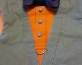 TUXEDO Dog Harness Velcro Gray with Navy Bow Tie - XLarge and XXLarge Size Listing