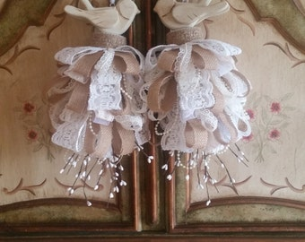 Burlap & Lace Wedding Love Birds Decorative Tassel Ornament Gift Set (2)