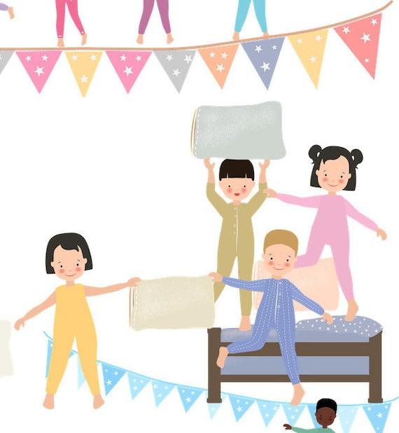 übernachtung clipart  Kids Clipart Pyjama Clipart Sleepover Clipart Pillow Fight