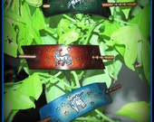 Fantasy Leather Hair Barrettes, Unicorn, Pegasus, with stars...Magical indeed, in your choice of cool colors....